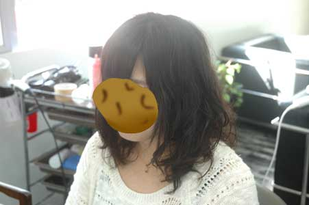 縮毛強制毛にパーマ2