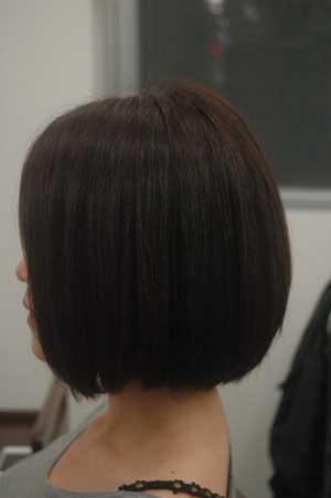 沖縄県宜野湾市美容室stylista|縮毛強制からの丸みボブ。1